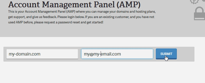 Click submit Account Management Panel AMP
