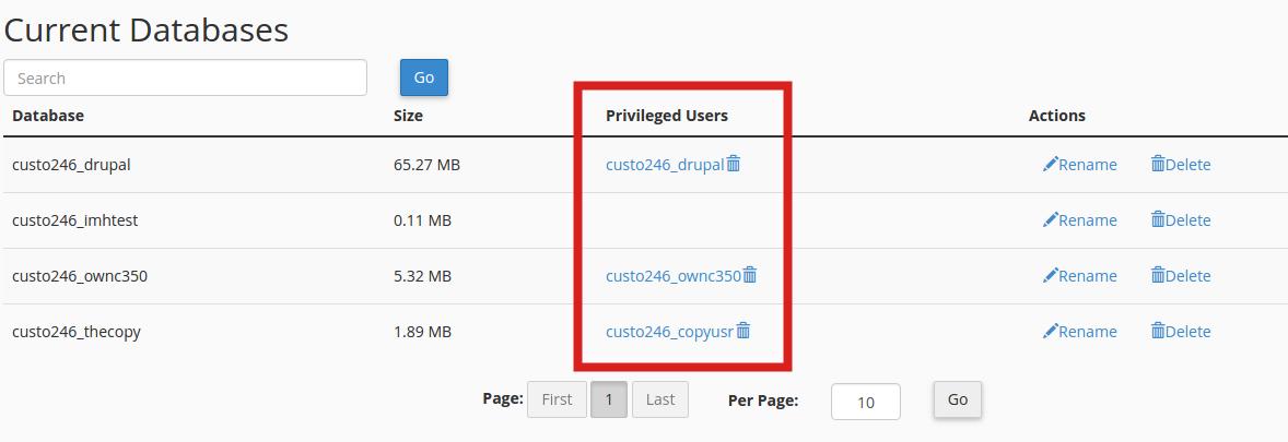 cpanel databases database user