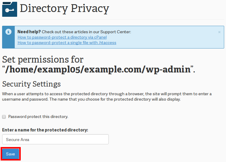 check password protect name directory click save