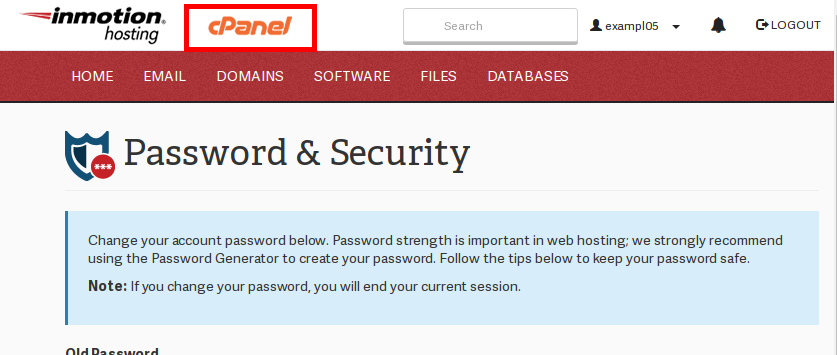 click on cpanel home