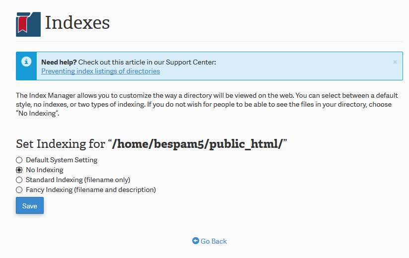 """Preventing the """"Index Of"""" listing page using the Index"""