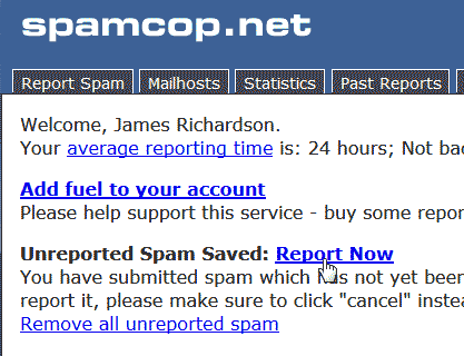 Unreported Spam Spam Cop
