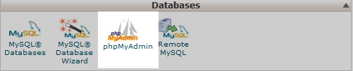 click on the phpmyadmin tool icon