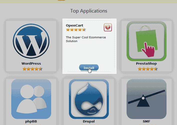 Click Install Open Cart Softaculous