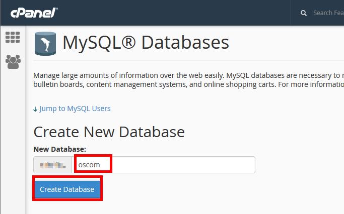 Create database and database username osCommerce 2.3.3
