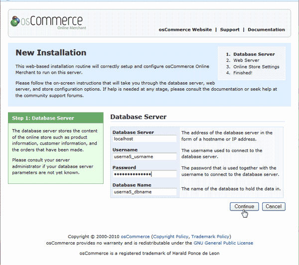Configure database connection osCommerce 2.3.3