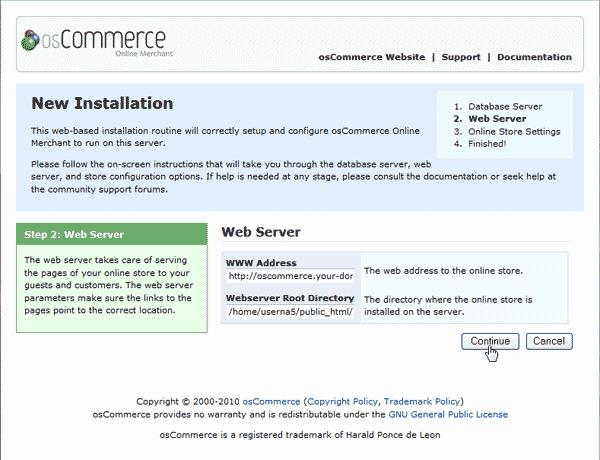Web Server Information osCommerce 2.3.3