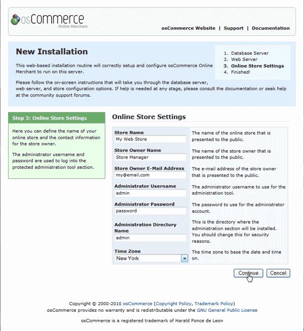 osCommerce 2.3.3 store settings