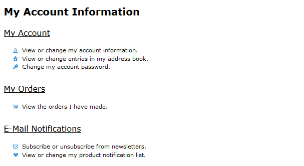 Successfully registered customers will see the My Account Information page