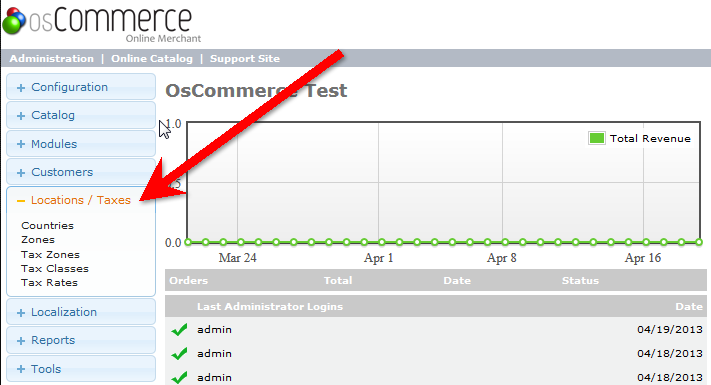Main Tax menu in osCommerce Admin Dashboard