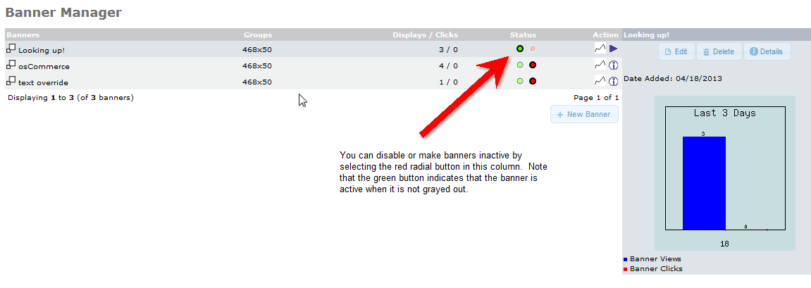 Status column has option to enable or disable a banner