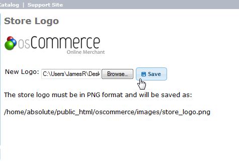 Upload and save logo osCommerce 2.3.3