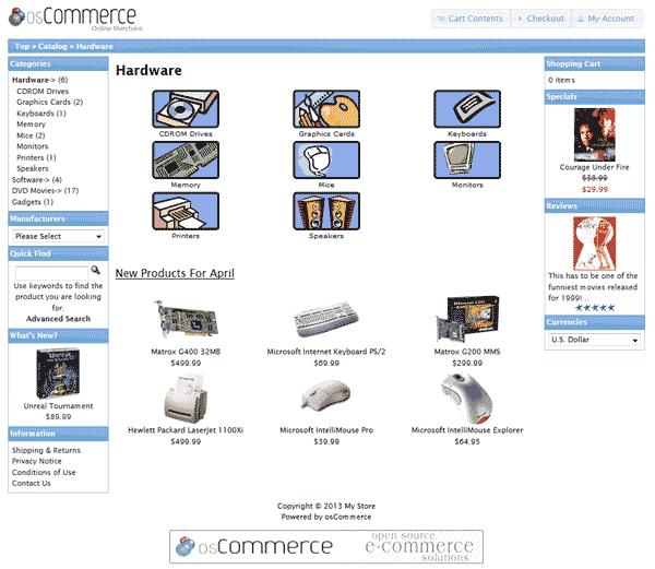 Default osCommerce 2.3.3 theme