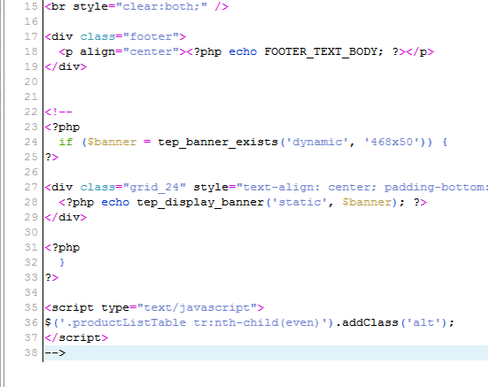 Code view of changes osCommerce