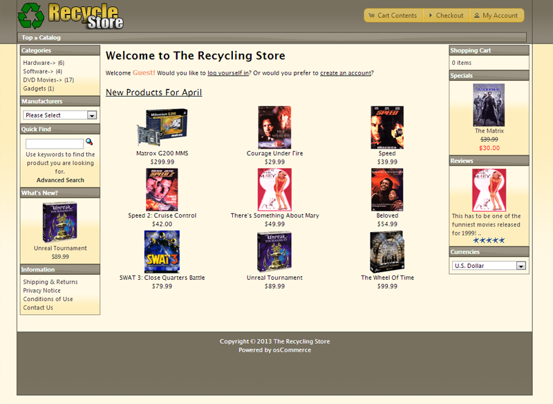 Final view with edited footer osCommerce
