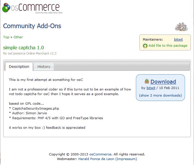 Download captcha plugin osCommerce
