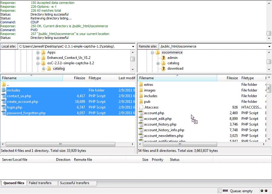 Copy captcha files osCommerce