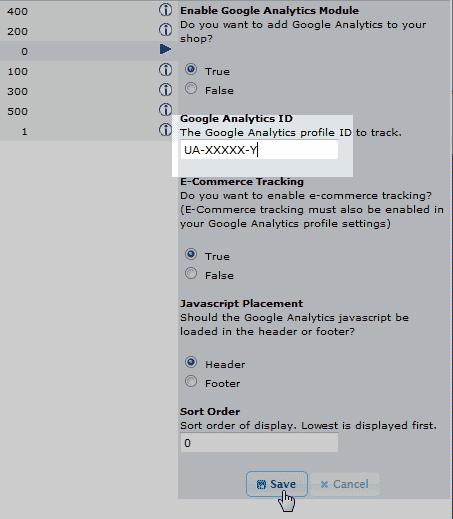 Add code to the module osCommerce