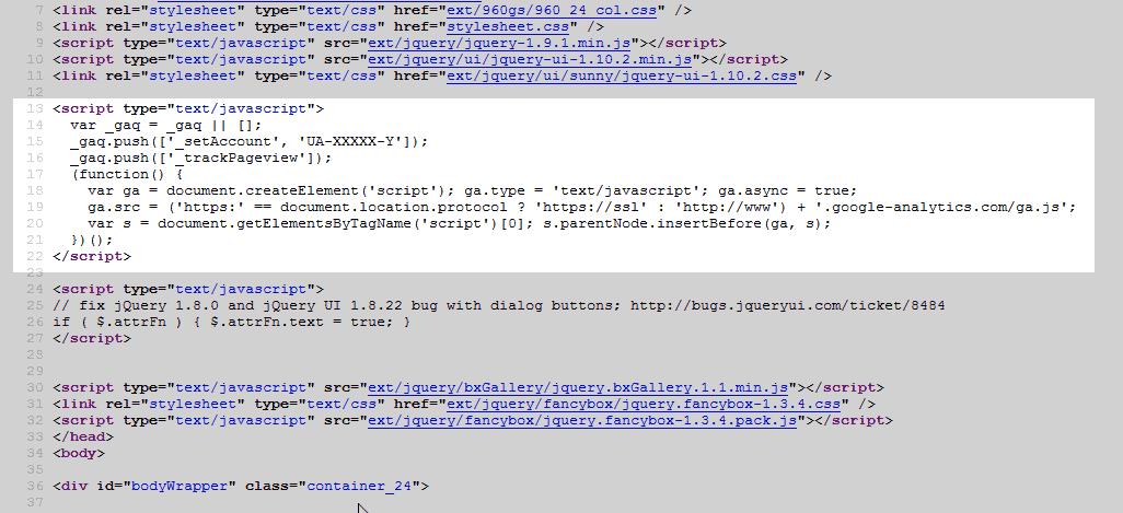 Google Analytics code in head section osCommerce