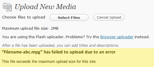Upload error occurring in WordPress due to PHP.INI limit