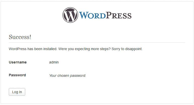 Successful install WordPress