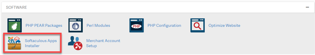 Click Softaculous in cPanel