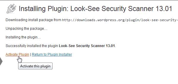 Activate Look See Security Scanner WordPress