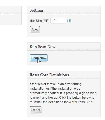 Scan your WordPRess site Look See Security Scanner WordPress