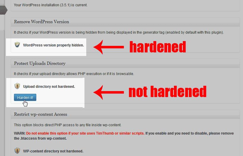 hardening the directories Sucuri Security - SiteCheck Malware Scanner plugin for WordPress