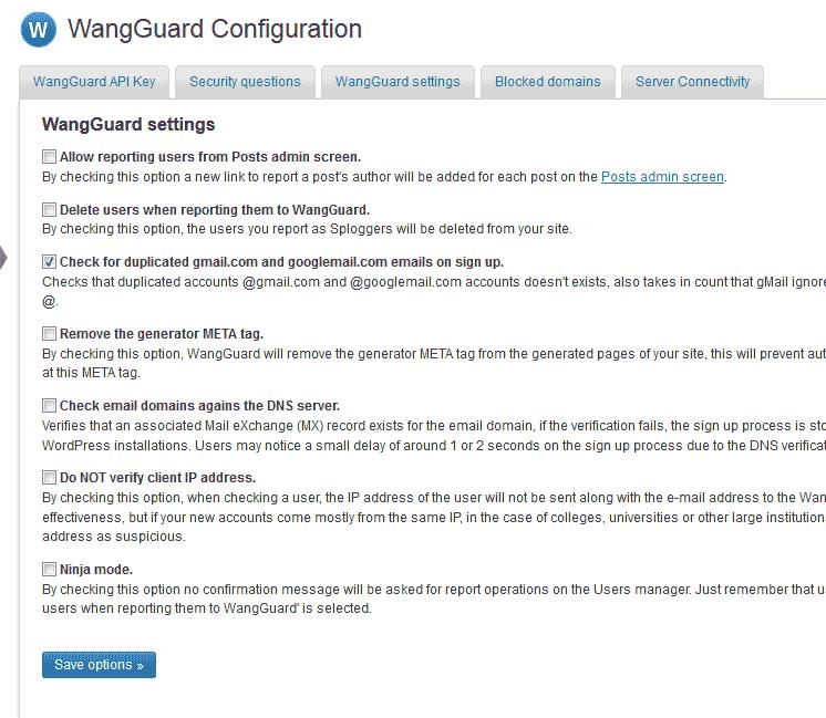 Configuration WangGaurd security plugin for WordPress