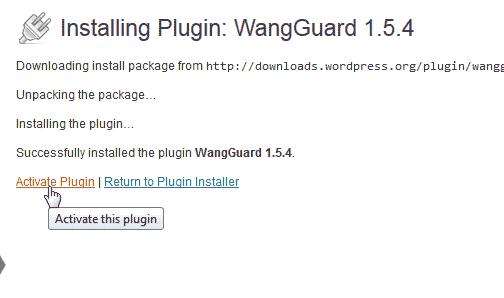 Activate WangGaurd security plugin for WordPress