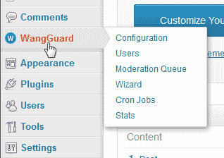 WangGaurd security plugin for WordPress Dashboard