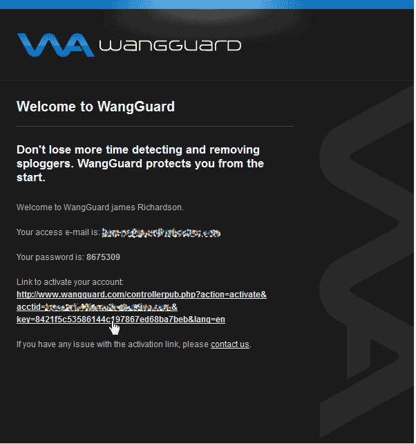 Activate the Account WangGaurd security plugin for WordPress