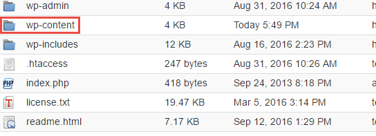 Enter the WP-content folder