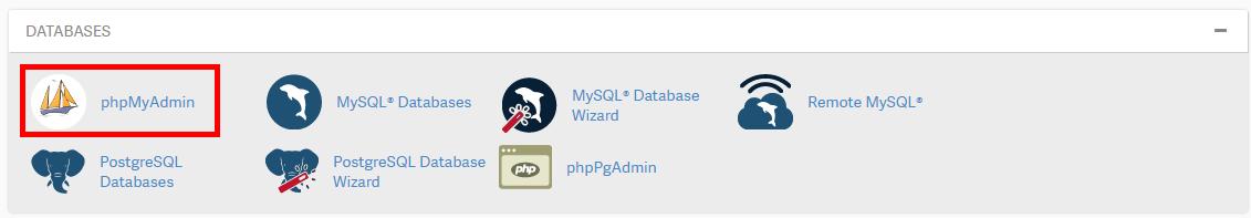click the phpmyadmin icon
