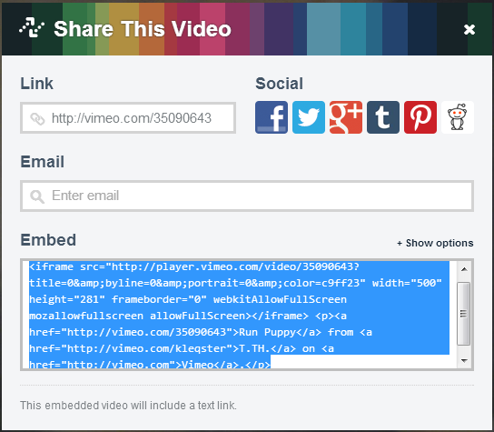 select embed code
