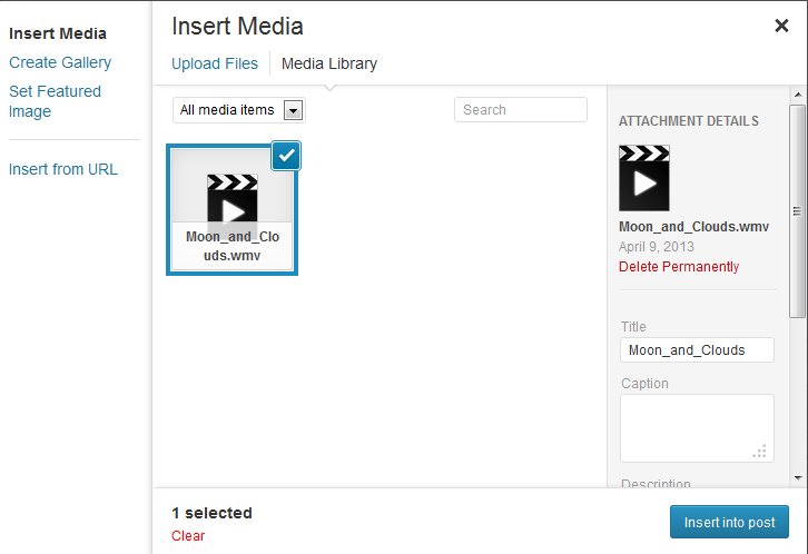 insert media into post or page