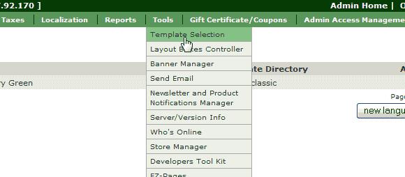 Zencart Template selection