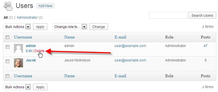 click on delete beside admin