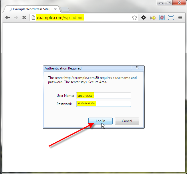 authentication required click on log in