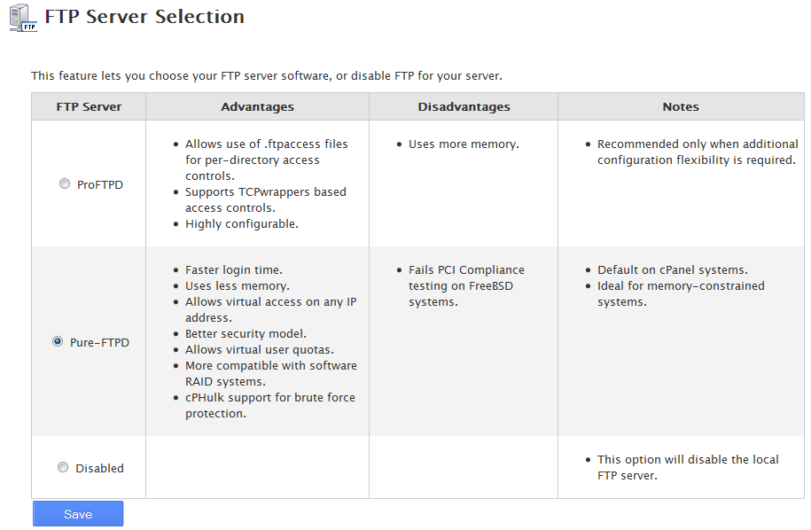 select FTP server type