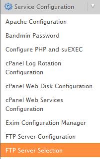 service configuration menu
