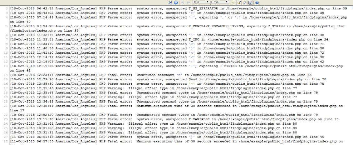 cpanel error log error log