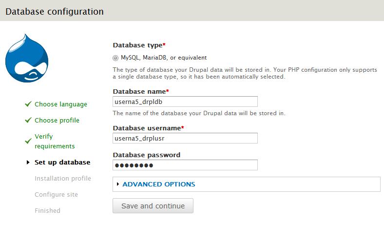 set database information
