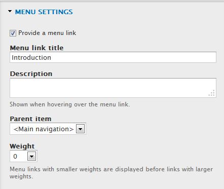 node menu settings
