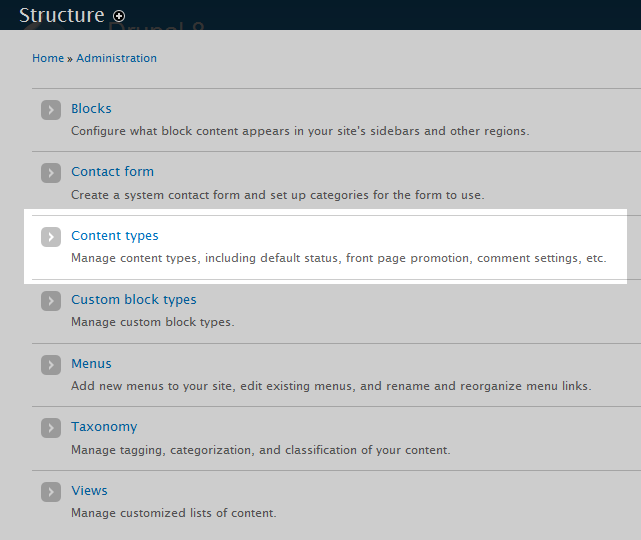 select content types option