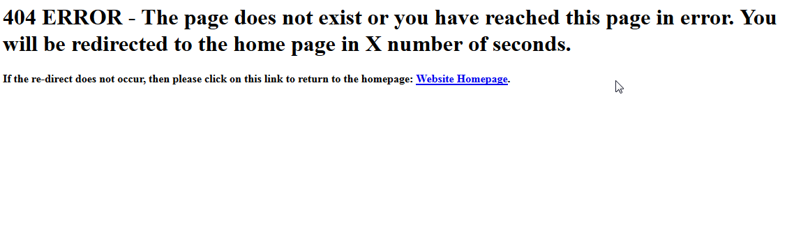 Sample of a possible 404 redirect page