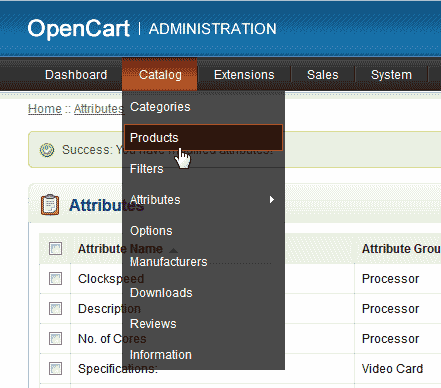 Products in OpenCart