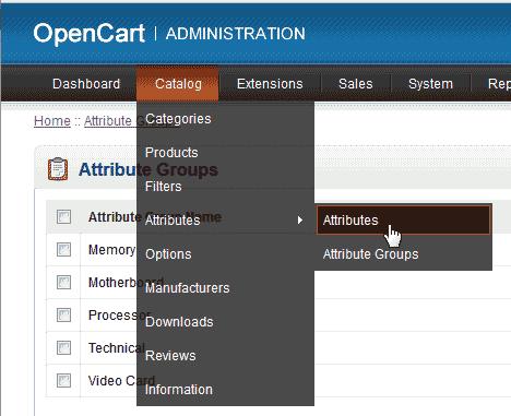 Individual attributes OpenCart