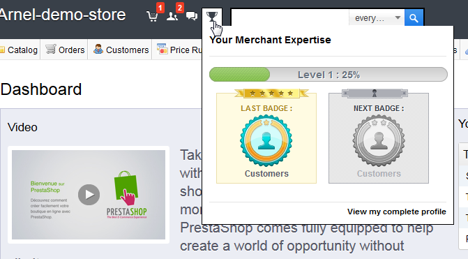Merchant Expertise on the dashboard